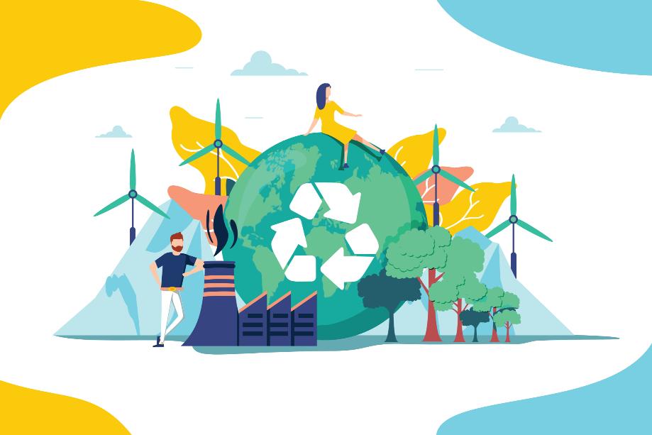 Dessin représentant le logo de recyclage sur la planète Terre. Derrière elle se trouvent des éoliennes. Devant se trouvent des arbres et une usine.
