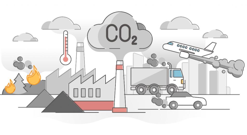 Des dessins d'usines, d'avion, de voiture et de camion  émettant des gaz à effet de serre sont représentés.
