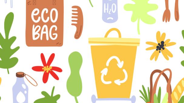 La photo est un dessin de fleurs, d'une poubelle jaune avec inscrit le logo recyclable dessus. Deux bouteilles d'eau et un sac recyclable y sont également dessinés.