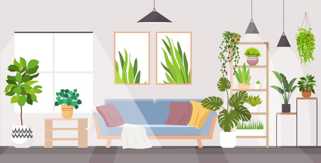 Cette image est un dessin représentant un salon avec beaucoup de plantes vertes autour du canapé.